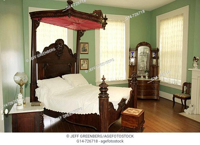Alabama, Montgomery, Old Alabama Town, historic buildings, Ordeman House, 1850s, bedroom, four poster bed, canopy, dressers, furniture, antique
