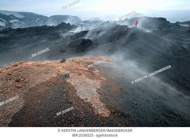 Hikers overlooking the steaming lava field formed during the eruption of a fissure vent in the Fimmvoerðuháls region in 2010, Fimmvoerðuháls hiking route