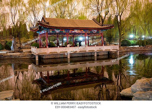 Wushu in Park, Practicing Tai Chi, Temple of Sun Pavilion, Pond, Reflection, Willows, Beijing, China