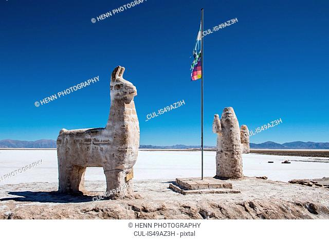 Salt statue at Salinas grandes close to Susques before the Paso de Jama border crossing, Susques, Jujuy, Argentina, South America