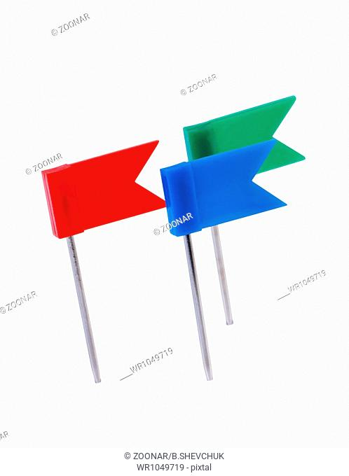 Flag pins isolated on white background