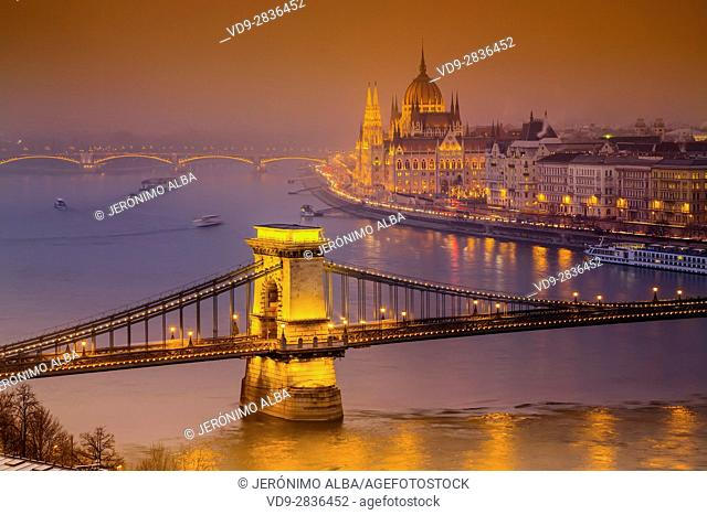 The Parliament Building and Chain Bridge over the Danube River seen from Castle Hill district. Budapest Hungary, Southeast Europe