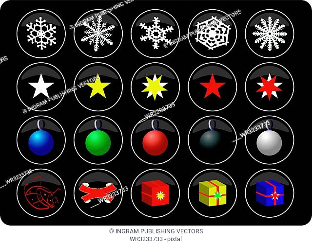 A collection of christmas buttons on a black background