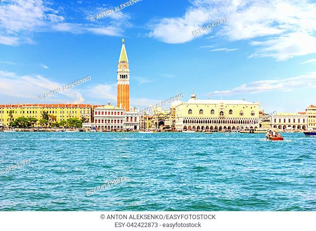The Doge's Palace and the Campanile of Piazza San Marco in Venice, Italy, sea view