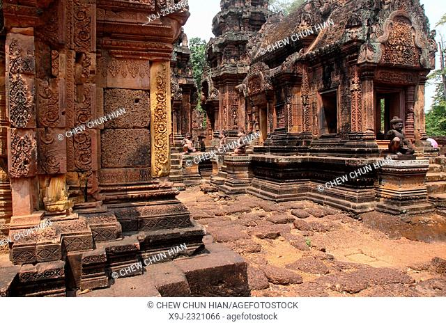 Banteay Srei temple, cntral courtyard with monkey and yaksha guardian figures, siem reap, cambodia