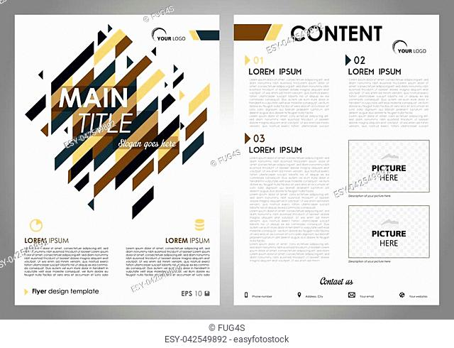 Vector flyer, corporate business, annual report, brochure design and cover presentation with blue and brown rectangle