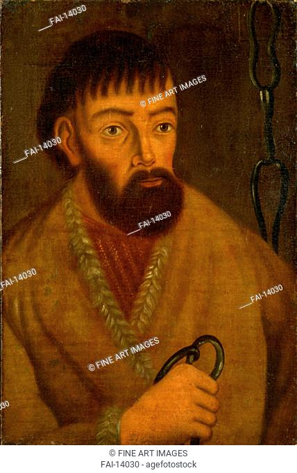 Portrait of the leader of a great Cossack insurrection Yemelyan I. Pugachev (c. 1742-1775). Anonymous . Oil on canvas. 1774