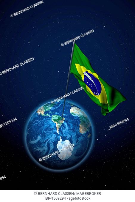 National flag of Brazil set up on the globe