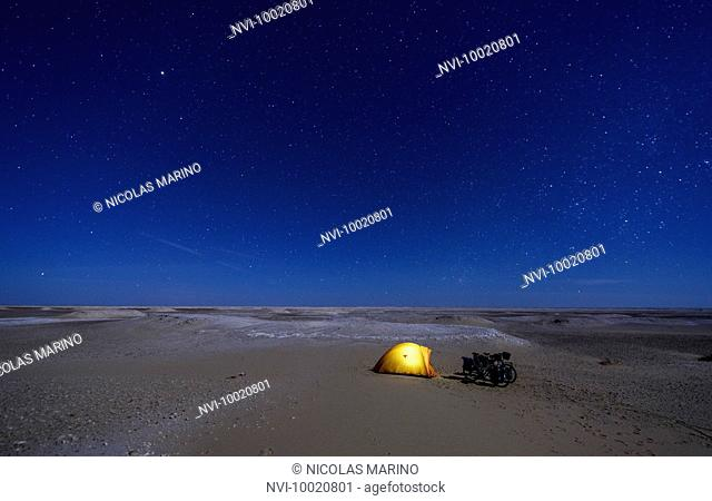 Camping under the stars in the Sahara, Egypt