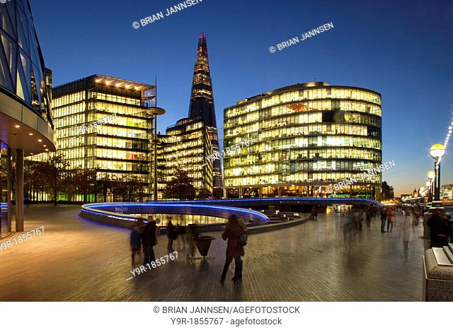 Twilight over the Shard, City Hall and the More London Development on the South Bank, London England, UK