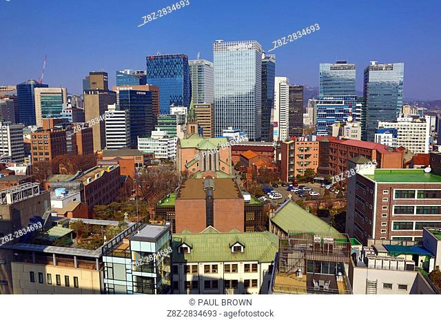 Buildings of the Myeongdong skyline and Myeongdong Cathedral, Seoul, Korea
