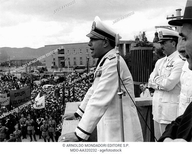 Speech by Galeazzo Ciano in Tirana. The Italian Foreign Minister Galeazzo Ciano speaking to the crowd gathered in Skanderbeg square