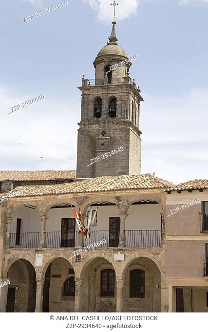 The main square in Medinaceli Soria Castile Leon Spain. Alhondiga building