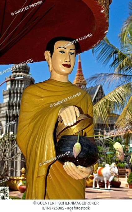 Statue of a mendicant monk at Wat Preah Prohm Rath temple, Siem Reap, Siem Reap Province, Cambodia