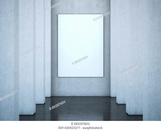 Long hall with columns and blank canvas on the wall. 3d rendering