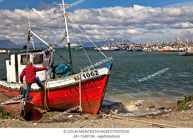 Fishermen boarding their boat, luxury cruise ship enters port, Puerto Natales, Patagonia, Chile
