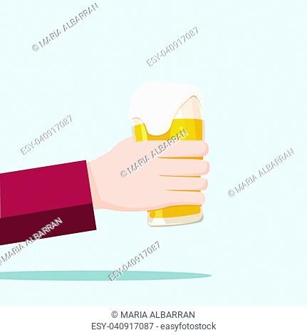 Left hand holding a beer glass and blue background. Vector illustration