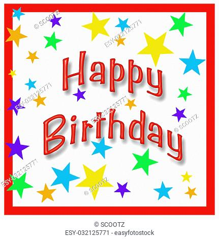 birthday poster illustration assorted colored stars in frame