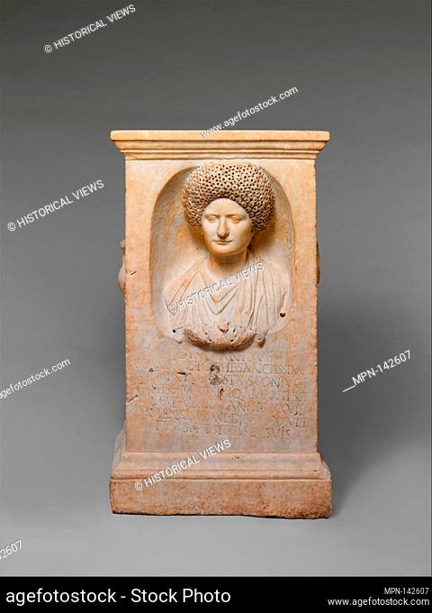 Marble funerary altar of Cominia Tyche. Period: Flavian or Trajanic; Date: ca. A.D. 90-100; Culture: Roman; Medium: Marble; Dimensions: H. 40 in. (101
