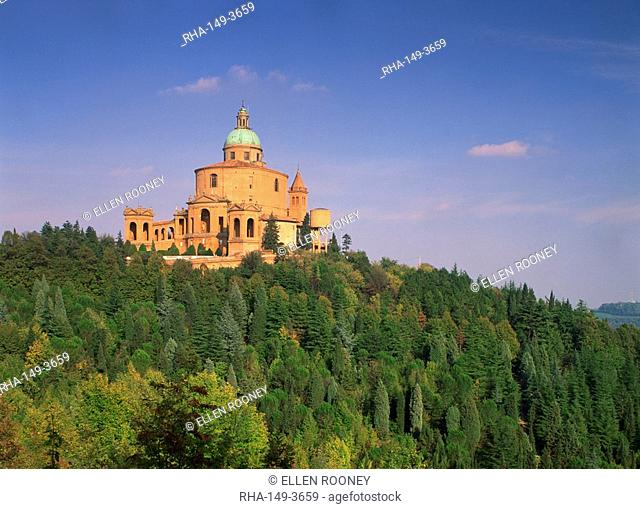 The church of San Luca above a tree covered hill in Bologna, Emilia Romagna, Italy, Europe