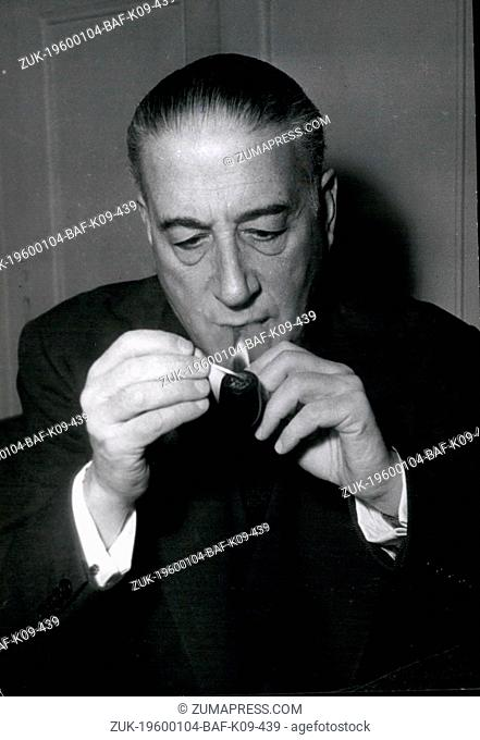 1968 - Rene Mayer And His Pipe Start Work In Paris On France's Difficulties Monsieur Rene Mayer newly elected prime minister of France is shown at his home in...