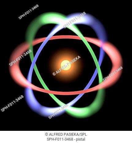Conceptual computer artwork of the structure of a simple atom. An atom consists of one or more electrons which are orbiting about the tiny, central nucleus