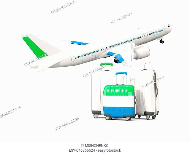 Luggage with flag of sierra leone. Three bags with airplane isolated on white. 3D illustration