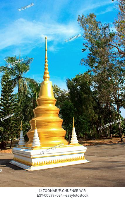 Golden pagoda in Temple of The Wat Rhai Pa, Trat