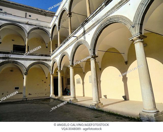 The Columnate inside the courtyard of the Conservatorio di Sant'Anna, Abbey of S. Lorenzo now Universita degli Studi della Campania ''Luigi Vanvitelli''