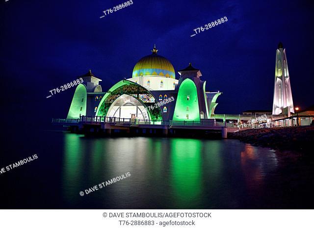 The beautiful Malacca Straits Mosque (Masjid Selat Melaka), Malacca, Malaysia