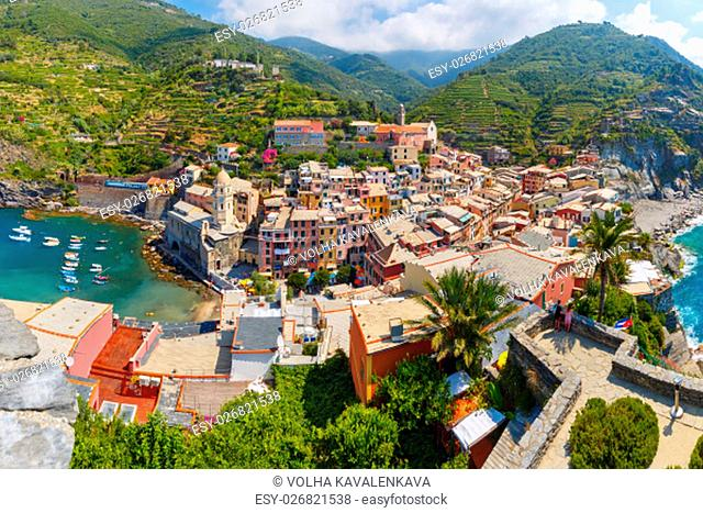 Aerial panoramic view of Vernazza fishing village in Five lands, Cinque Terre National Park, Liguria, Italy