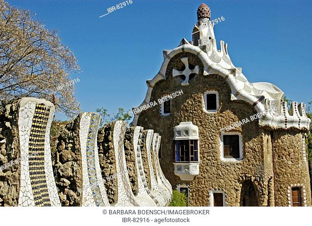 House in the park Gueell, Architect Antoni Gaudi, Barcelona, Catalonia, Spain