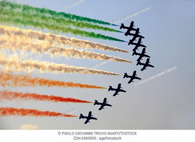 "The Italian acrobatic team """"Frecce Tricolori"""" during an airshow"