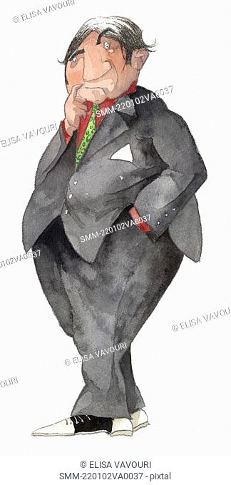 Overweight character in suit thinking