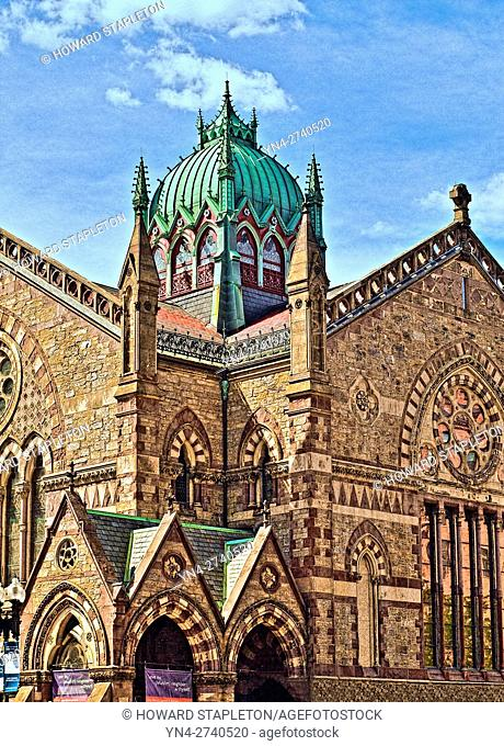 Old South Church. Boston, Mssachusetts. This National Historic Landmark building completed in 1875 is an example of Northern Italian Gothic architecture