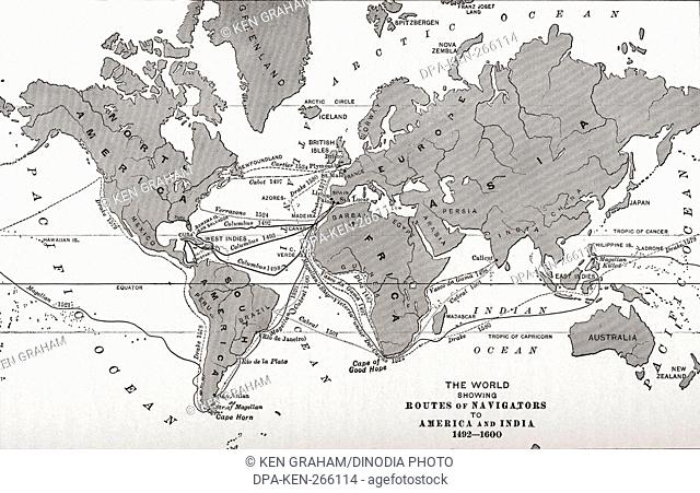 world Map showing routes of navigators to America and India