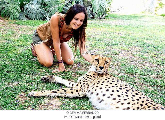 Namibia, Kamanjab, tourist petting a tame cheetah