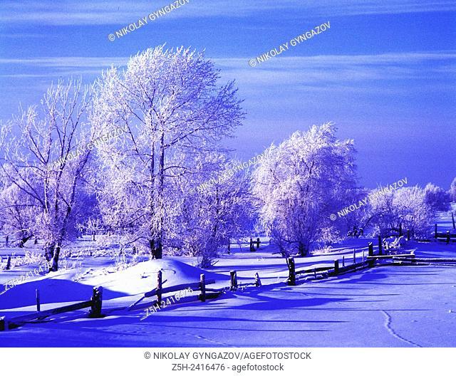 Russia. Landscape in cold tones