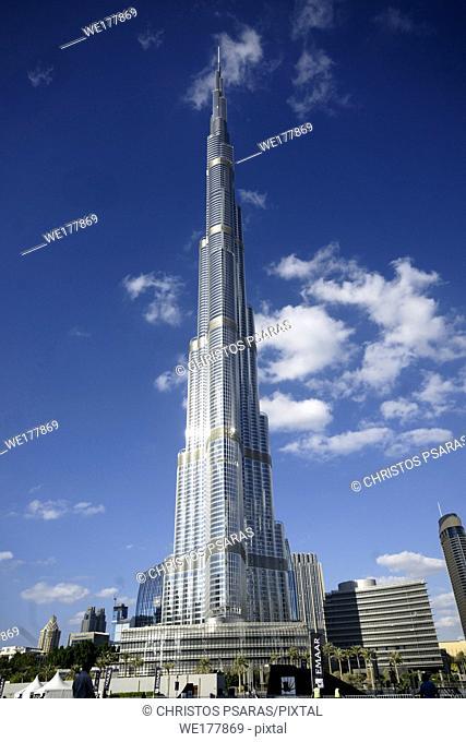The Burj Khalifa tower, the tallest building in the world, at Dubai United Arab Emirates