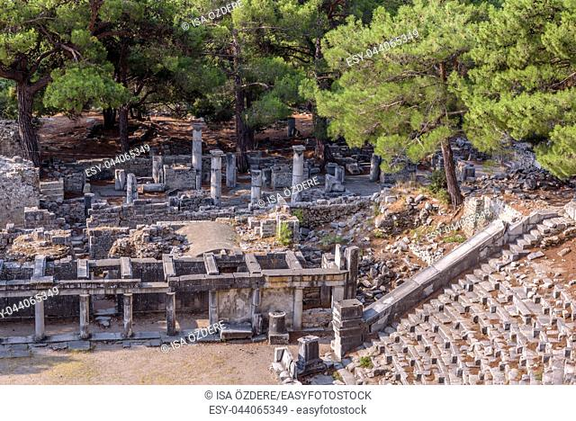 Ruins of ancient theater at Ancient Greek City in Priene,Soke,Aydin,Turkey