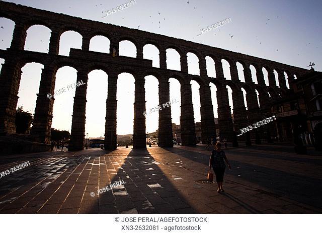 Roman Aqueduct, Segovia, Castilla León, Castile and León, Spain, Europe