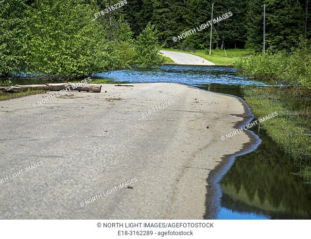 Canada, BC, Salmon Arm. Skimikin Lake. Road to the lake impassible due to early summer flooding
