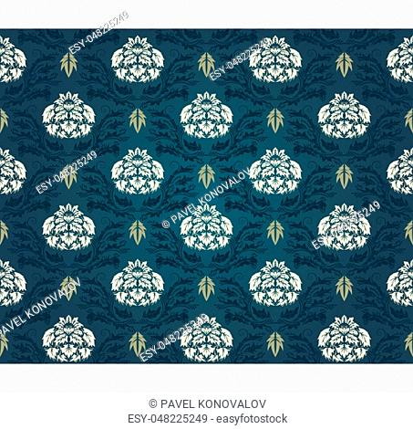 Damask Seamless Pattern. Elegant Design in Royal Baroque Style Background Texture. Floral and Swirl Element. Ideal for Textile Print and Wallpapers