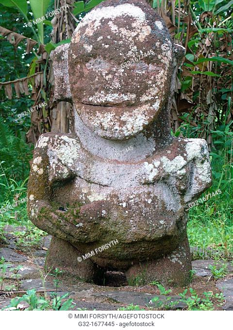 Tiki, said to be a woman, thus unusual, one of the few remaining on Ra'ivavae, Austral Islands, French Polynesia  The others have been moved to the Gauguin...