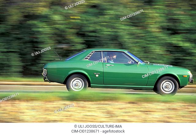 Car, Toyota Celica, Coupé, Coupe, green, model year 1971-1977, old car, 1970s, seventies, driving, side view, road, country road