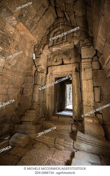 A stone doorway at ancient Ta Prohm