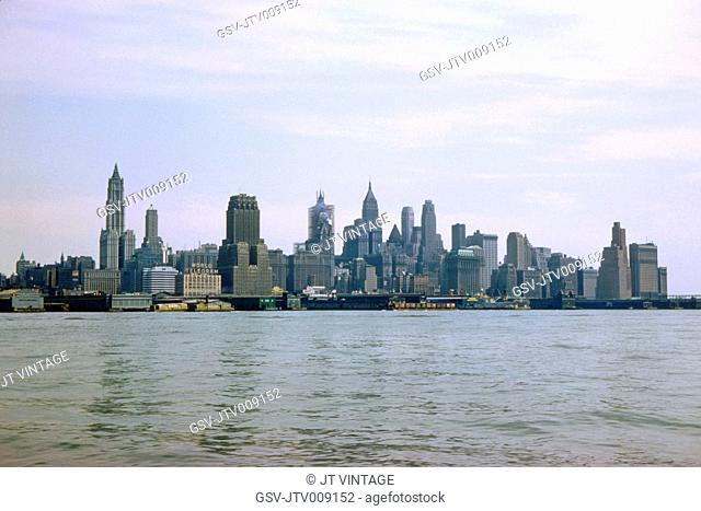 Skyline, Financial District and Battery, View from Hudson River, Manhattan, New York City, New York, USA, August 1959
