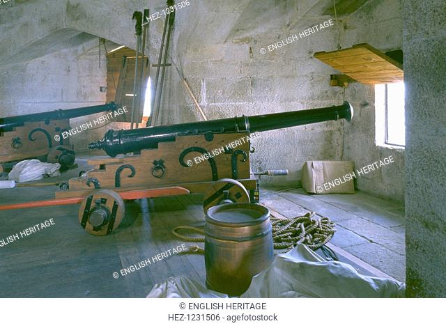 Upper gun deck, Pendennis Castle, Cornwall, 1998. Showing the upper gun deck, complete with cannon and powder kegs. The original part of the castle consisted of...