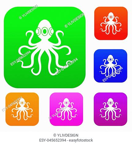 Octopus set icon color in flat style isolated on white. Collection sings illustration