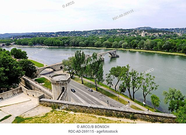 River Rhone, view from Rocher des Doms, Avignon, Provence-Alpes-Cote d\'Azur, Southern France, France